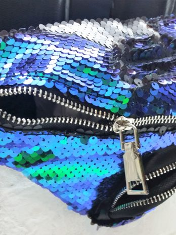 Fancy Bauchtasche aus Wendepailletten blau-grün/schwarz