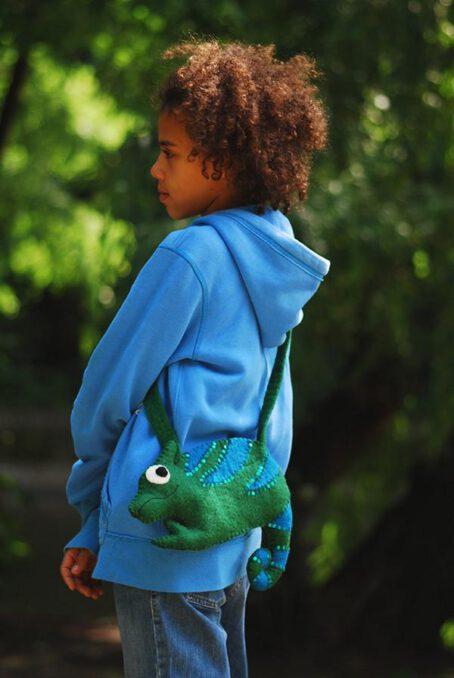 Filz-Tasche grünes Chamäleon